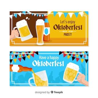 Banners coloridos de oktoberfest con diseño plano
