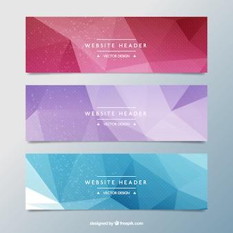 Banners coloridos poligonales
