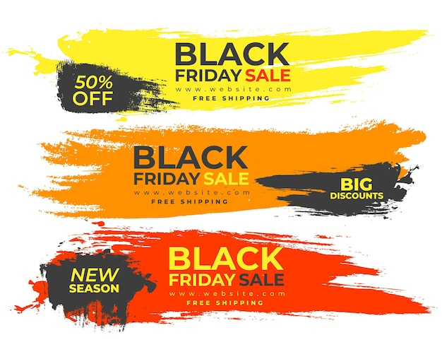 Banners coloridos salpican para black friday