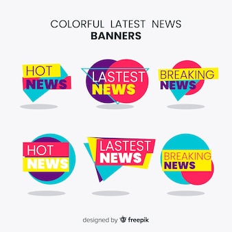 Banners coloridos de últimas noticias