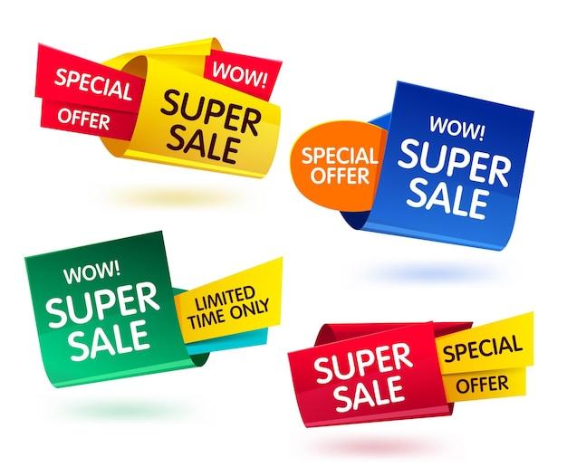 Banners coloridos para venta de ofertas especiales y descuentos.