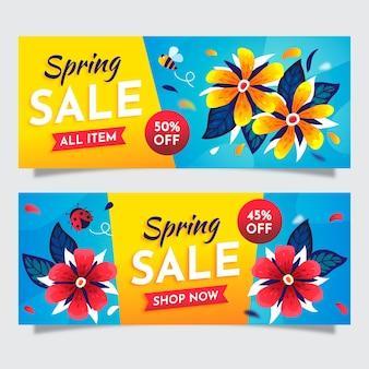 Banners coloridos de venta de primavera plana