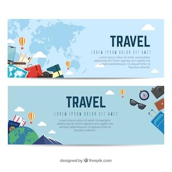 Banners coloridos de viaje con diseño plano