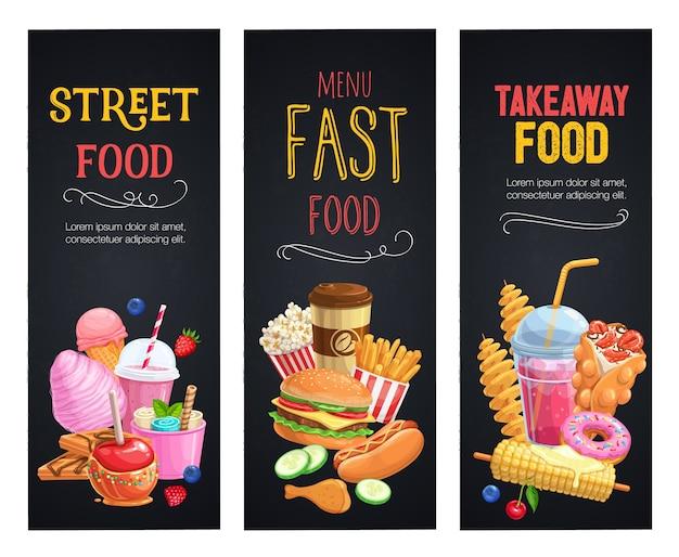 Banners de comida callejera. plantilla de comidas para llevar con gofres de burbujas, hong kong, papas fritas en espiral, limonada y manzanas en caramelo