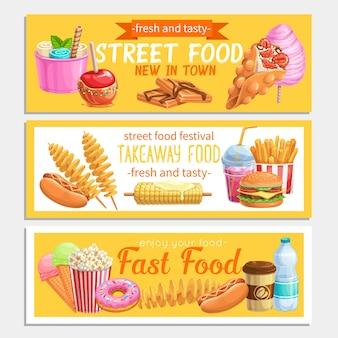 Banners de comida callejera.
