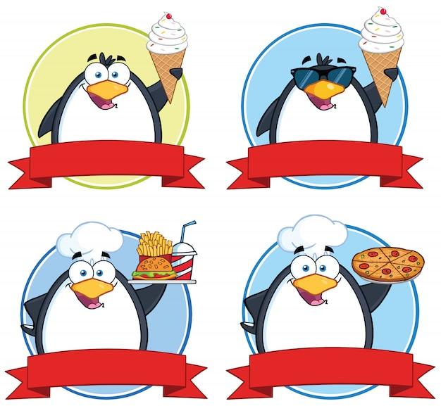 Banners de comida de círculo de pingüinos
