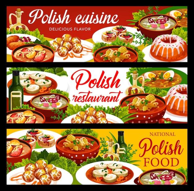 Banners de comida de cocina polaca con platos de almuerzo y cena, menú tradicional de vector de polonia. cocina nacional polaca borscht blanco y escalope de cerdo, carpa navideña y sopa zurek con rosquillas de varsovia