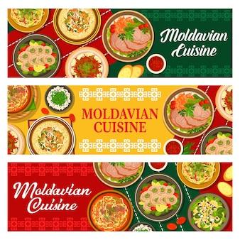 Banners de comida moldava, menú de cocina moldava