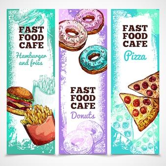 Banners de comida rápida verticales
