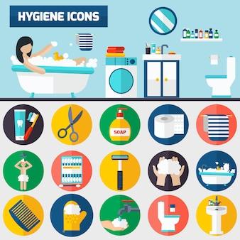 Banners de composición de iconos planos de higiene personal