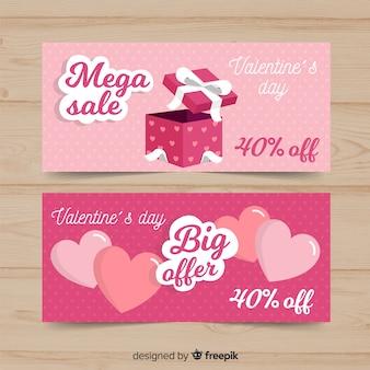 Banners de compras del día de san valentín