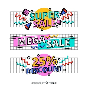 Banners de compras de estilo memphis