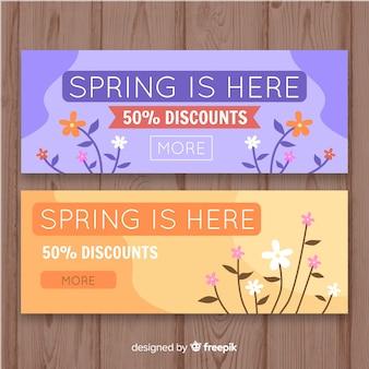 Banners de compras primaverales