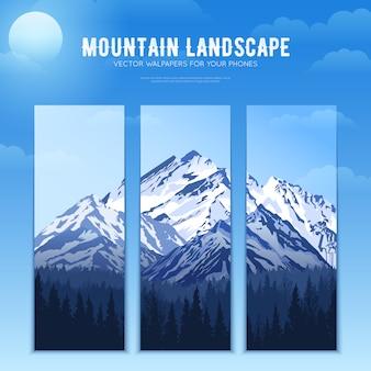 Banners de concepto de diseño de paisaje de montañas
