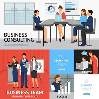 Banners conjunto de capacitación empresarial