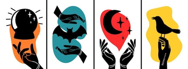 Banners contemporáneos con manos y símbolos ocultos. pájaro, luna, siluetas de murciélagos y brazos, plantillas vectoriales decorativas
