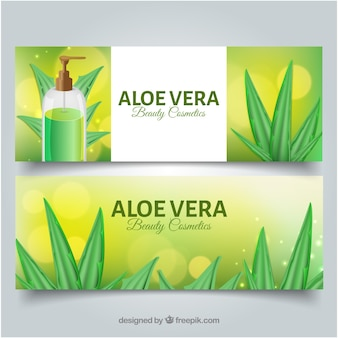 Banners de cosmético de aloe