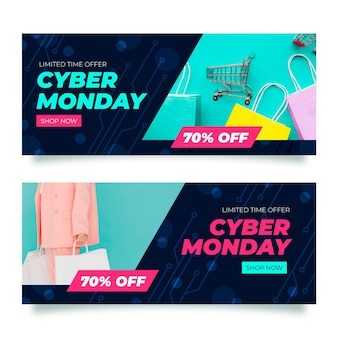 Banners creativos de cyber monday con foto