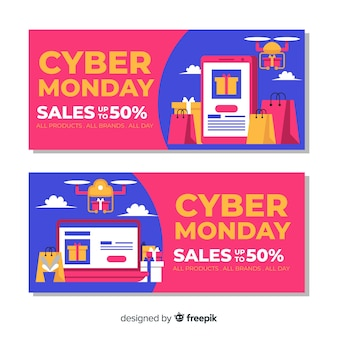Banners creativos de cyber monday