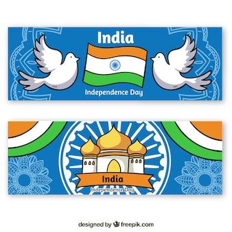 Banners creativos del día de la independencia de la india