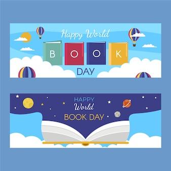 Banners creativos del día mundial del libro