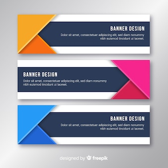 Banners creativos con formas abstractas