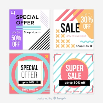 Banners cuadrados geométricos de rebajas para redes sociales