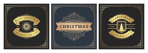 Banners cuadrados de navidad vintage tipográfico, adornos ornamentados símbolos ilustración
