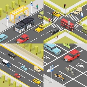 Banners cuadrados de tráfico de la ciudad