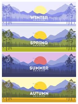 Banners de cuatro estaciones con árboles abstractos