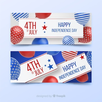 Banners del cuatro de julio