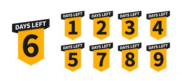 Banners de cuenta regresiva o insignias de los días que faltan. cuenta el tiempo de venta.
