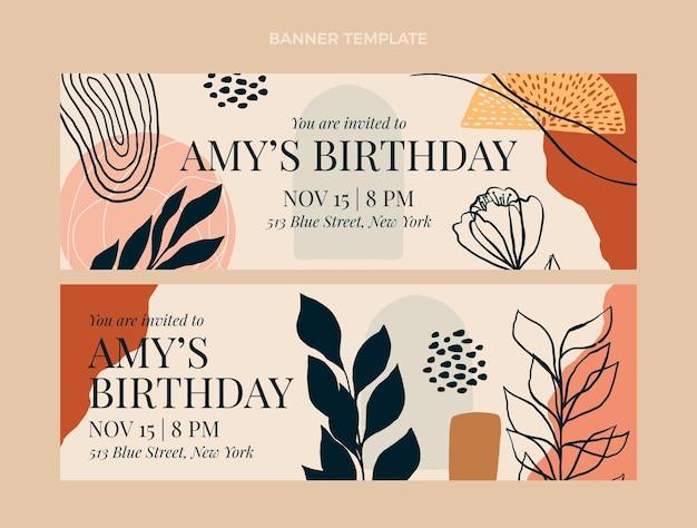 Banners de cumpleaños boho dibujados a mano horizontales