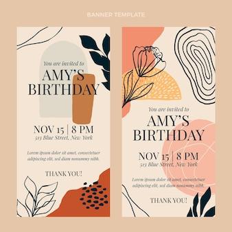 Banners de cumpleaños boho dibujados a mano verticales