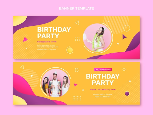 Banners de cumpleaños coloridos degradados horizontales