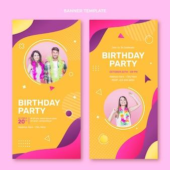 Banners de cumpleaños coloridos degradados verticales