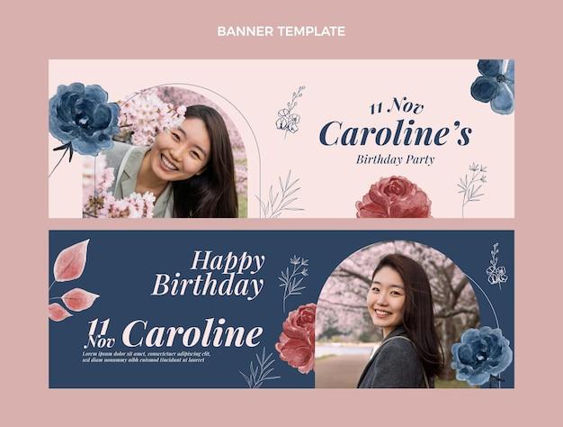 Banners de cumpleaños dibujados a mano en acuarela horizontales