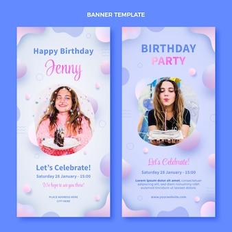 Banners de cumpleaños fluido abstracto degradado verticales