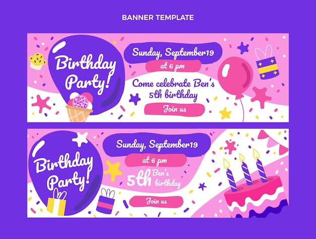 Banners de cumpleaños infantiles dibujados a mano horizontales