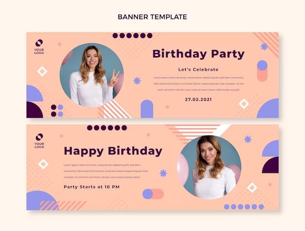 Banners de cumpleaños mínimos de diseño plano horizontales