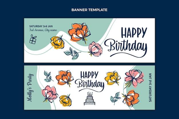 Banners de cumpleaños mínimos planos horizontales