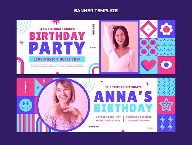 Banners de cumpleaños de mosaico de diseño plano horizontales