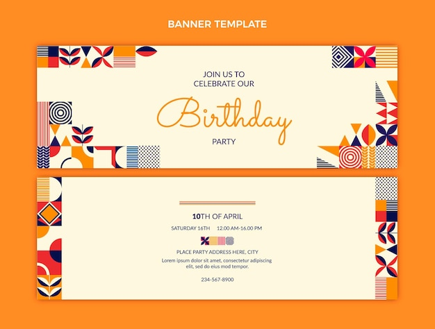 Banners de cumpleaños de mosaico plano horizontal