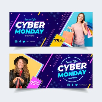 Banners de cyber monday de diseño plano con imagen