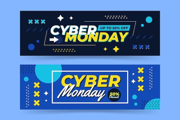 Banners de cyber monday en diseño plano