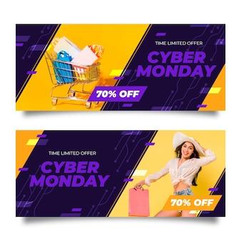 Banners de cyber monday de diseño plano