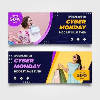 Banners de cyber monday con foto en diseño plano