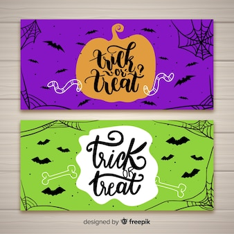 Banners dde halloween dibujados a mano