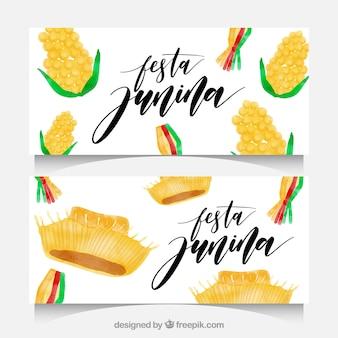 Banners de acuarela de festa junina con mazorcas de maíz