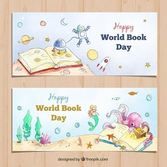 Banners de acuarela para el día mundial del libro